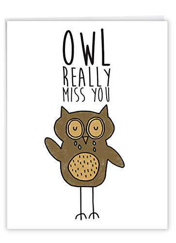 Fun Puns Owl - I Miss You Card with Envelope (8.5 x 11 Inch) - XL Greeting Card with Cute Crying Owl -Animal Illustration and Appreciation Card J2975DMYG