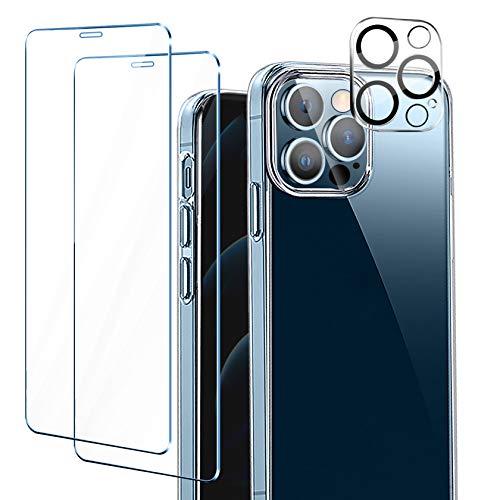 ivencase Funda Compatible con iPhone 12 Pro MAX, 2 Pack Cristal Templado y 1 Pack Lente de cámara - Transparent