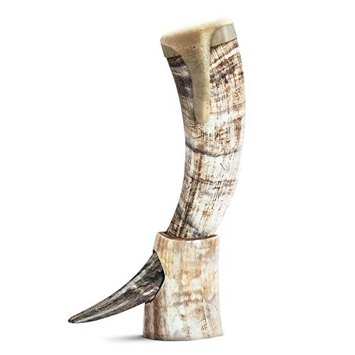 Norse Tradesman Drinking Horn (20 Inches, Horn Stand - Brass Rim, Unpolished)