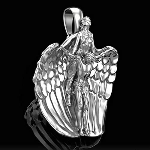 CXWK Ángel Santo Colgante ruega por Nosotros Collares Colgantes arcángel ángel Jesús Collar joyería