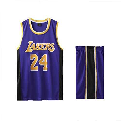SXGX Kóbé-Lákér 24# Uniforme de Baloncesto, Transpirable y Absorbente del Sudor, Uniforme de Baloncesto, Adulto de Bordado de Deportes de Entrenamiento de Baloncesto Uni Purple-XXL