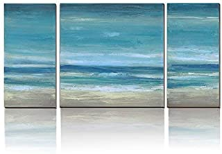 3Hdeko - Ocean Wall Art Abstract Beach Pictures Coastal Wall Decor Modern 3 Pieces Teal Blue Seascape Painting for Home Living Room Bedroom, Large Size Canvas Prints, Ready to Hang