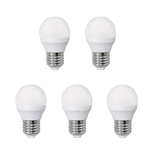 Pack 5 x Bombilla LED esférica 6W (equivalente a 40W) Luz neutra, no dimmable, E27, 470 Lm, 25000 horas de vida