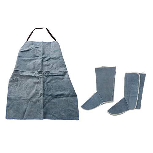 Verstellbare Schweißerschürze + Schweißerschuhe Set Scheißzubehör Schweißwerkzeug, Splash Hitzebeständig und Haltbar
