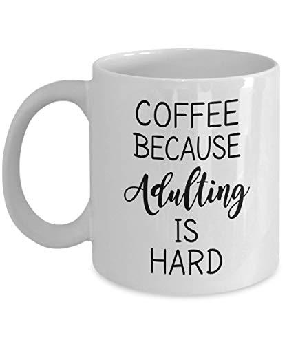 N\A Tazas de Regalo de mordaza - Café Porque los Adultos Son Taza Dura - 11 Taza de té de cerámica con Mango en Forma de C de Doble Pared Oficial Trabajador Social Compañero de t