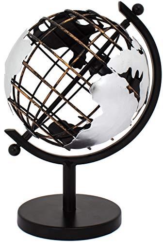 Brubaker Designer Vintage Gitter Globus Weltkugel aus Metall - Höhe 22 cm - Ø 14 cm
