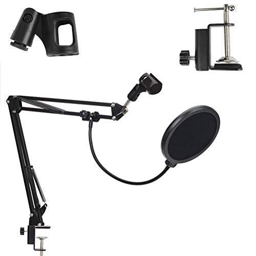 Kadence Adjustable Suspension Boom Scissor Accessories Mic Stand NB35 with Pop Filter Mask Shield Any Microphone, Mic Dual Layered Wind Pop Screen With A Flexible 360° Gooseneck Clip Stabilizing Arm