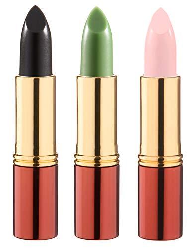 IKOS Lippenstift 3er Set: der denkende Lippenstift weiß/perlmuttrosa + grün/nachtrosa + schwarz/kirschrot