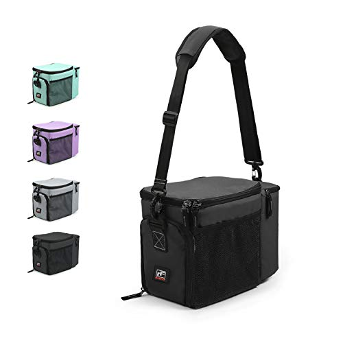 RitFit Insulated Lunch Box- Large Capacity Meal Prep Bag for Work, School or Road Trips, Suitable for Adults and Kids- Come with Adjustable Strap, Ice Packs, and Containers (Black)