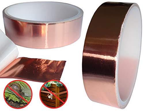 O&W Security Schneckenschutz Schneckenabwehr Schneckenband 24mm x 4 Meter Kupferband gegen Schnecken selbstklebend leitfähig umweltfreundlich ohne Chemie