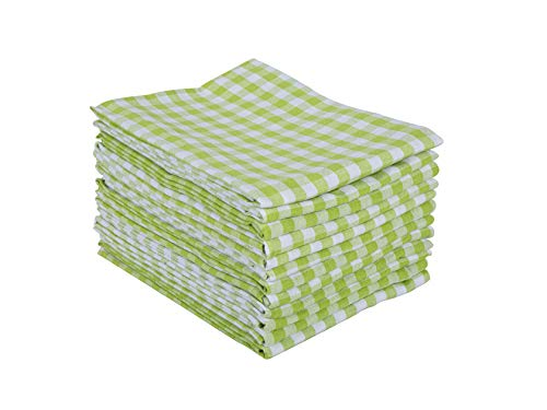 Kitchen Dish Towels, 100% Natural Cottton Kitchen Towels with Drill Stripe Design (Size 50x70 cm) for Kitchen Décor, Super Absorbent Dish Cloths Tea Towels, Set of 10 Light Green Towels