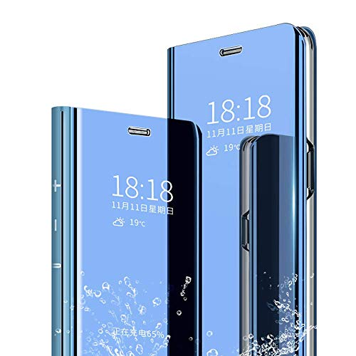 Kompatibel Hülle Xiaomi Mi MAX 3 Spiegel Lederhülle Handyhülle PU-Leder Flip Handy Hülle mit Standfunktion Schutzhülle,für Xiaomi Mi MAX 3 360 Grad Cover Hülle - Blau