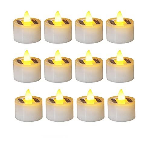 TopHGC Velas LED de Luminicious, 12 piezas de velas solares, velas electrónicas sin llama sin humo, velas ligeras de té para el festival de jardín de Halloween, fiesta de bodas