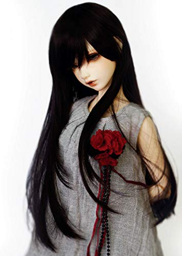 "1/4 7-8"" Bjd Doll Hair Only Wig Mid Long Layered Roll Inside Tips Ends Jet Deep Black Styled"