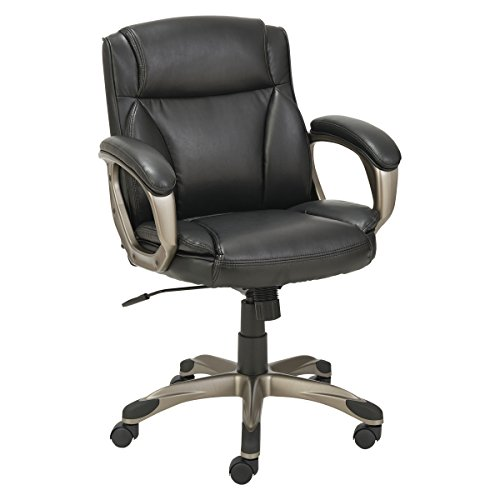 Alera ALE Veon Series Low-Back Leather Task Chair w/Coil Spring Cushioning, Black