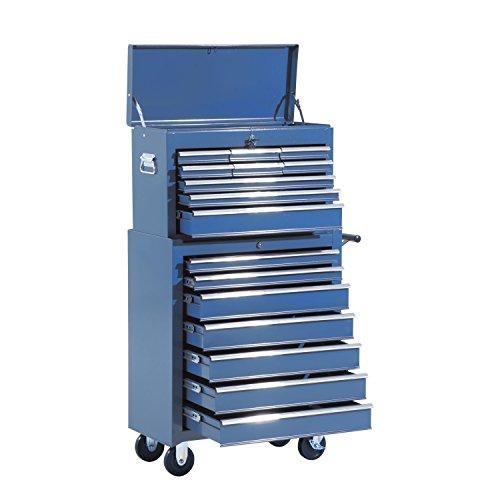 HOMCOM Fahrbarer Werkzeugwagen Werkstattwagen Rollwagen Werkzeugkasten (Blau)