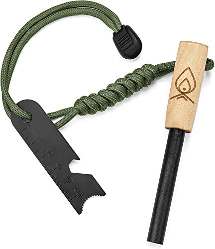 Texas Bushcraft Fire Starter - 3/8' Thick Ferro Rod with Striker and Paracord Wrist Lanyard – Waterproof Flint Fire Steel Survival Lighter for Your Camping, Hiking and Backpacking Gear