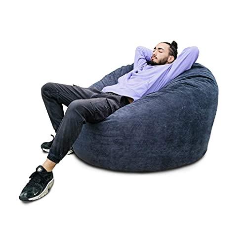 Pouf Poire Géant 100 cm Velours Côtelé Ultra Confortable Rempli De Mousse Déchiqueté Fauteuils Chaise Canapé (Bleu)…