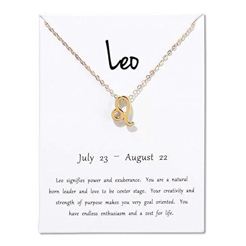 BGPOM Halskette Frauen 12 Sternzeichen Sternbilder Anhänger Halsketten mit Geschenkkarte Goldene Ketten Halsreif Schmuck-Löwe