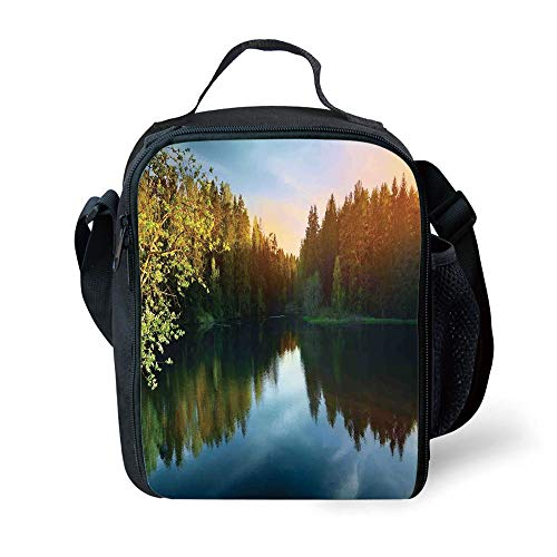MLNHY School Supplies Lake House Decor,Modern Photo of Lake and Forest Landscape in Northern Island with Realistic Color Art,Green Blue for Girls or Boys Washable