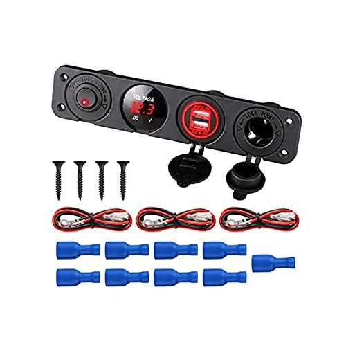 YIKXCF 12V-24V 4 en 1 Dual 4.2A Cargador USB LED Voltímetro Toma de Corriente Outllet On-Off Toggle Interruptor para automóviles Moto Boat Marine (Color : Red)