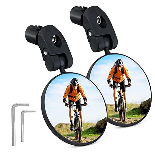 SGODDE Specchietto Bici, 2 Pezzi Specchietto Retrovisore Bici, 360 ° Regolabile Ruotabile Specchietto per Bici, Specchietto per Manubrio in Plastica Convesso per Mountain Bike, Bicicletta, Universale