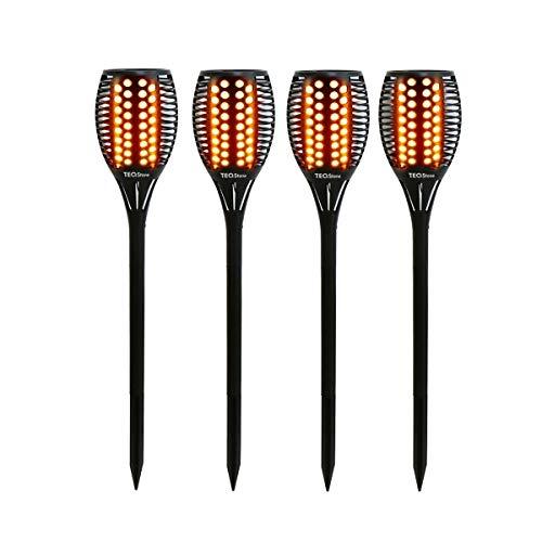TEQStone Solarleuchte Garten, Solar Fackel Solarlampen für Außen Gartenfackeln Solar LED Solarlampe, Realistischer Flammeneffekt, IP65 Wasserdicht(4 Stück)