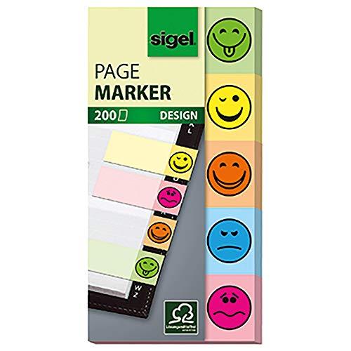 SIGEL HN502 Haftmarker Design Smileys aus Papier, 200 Streifen im Format 20 x 50 mm, 5 Farben