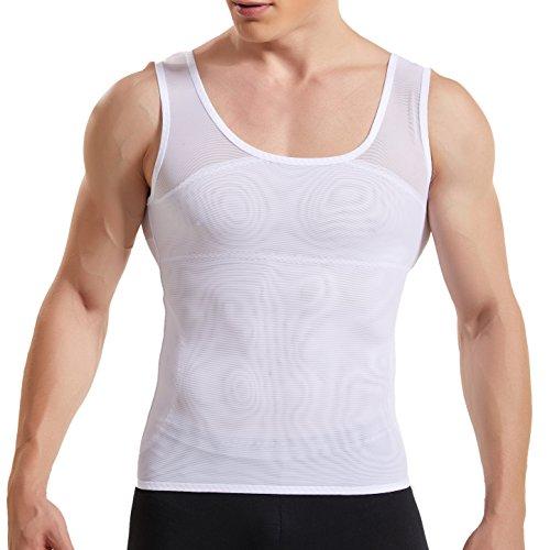 HANERDUN Kompressionsunterwäsche Tank Top Herren | Bauchweg Body Shaper Figurformendes Unterhemd für Männer | Sport Fitness Bodyshaper Weiß M