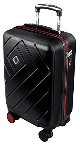 Ryanair Hand Cabin Case Approved - Lightweight 55 cm Hardshell Luggage with Built-in TSA Accepted Combination Lock and 4 Silent 360° Wheels - Deep Black 20 inch - Black Friday Deal