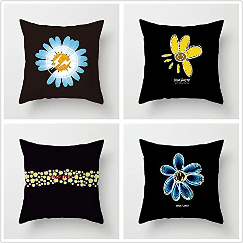 Pillow Case Cushion Cover, margherita nera 4 Pieces Pillow Case, Throw Pillow Covers, Home Decoration Pillow Case, Super Soft Sofa Cushion, for Living Room Sofa Bed Auto 50x50cm(20x20in)