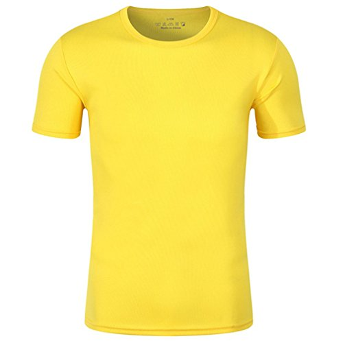 CIKRILAN Hommes Outdoor Ras du Cou Manches Courtes Quick Dry Wicking Respirant Mesh T-Shirt Casual Sports Course Pêche Camping Tee Shirt (XX-Large, Jaune)