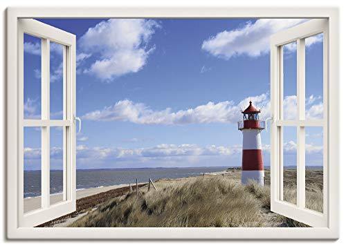 Artland Leinwandbild Wandbild Bild auf Leinwand 100x70 cm Wanddeko Fensterblick Fenster Strand Meer Maritim Düne Leuchtturm Sylt Nordsee T5SD