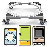 sacfun Base Regolabile Mobile Multifunzionale con 4 × 2 Ruote Girevole in Gomma di bloccaggio a rotelle Mobile Dolly Dolly per Lavatrice, fornelli, asciugatrice e Frigorifero (carico 300kg)