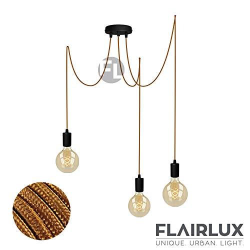Pendelleuchte schwarz metall 3 flammig DIY E27 mit Textilkabel höhenverstellbar Deckenleuchte Vintage Lampe Retro elegantes Design für Ihre Wohnung. (Whisky, 3 x 4 Meter)