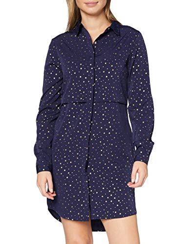 Marca Amazon - find. Vestido Camisero para Mujer, Azul (Navy), 38, Label: S