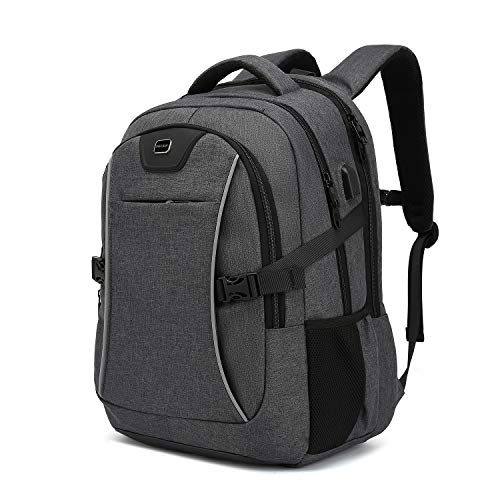 Travel Laptop Backpack, Drop Protection Computer Backpacks Durable Hiking Work Business Daypack Water Resistant Schoolbag with USB Charging Port, Gifts for Men Women Boys Girls fits 15.6 Inch Laptops(15.6 Inch, Dark Grey)