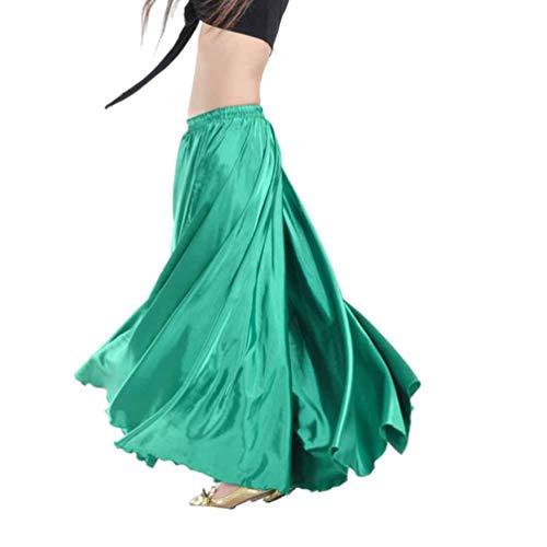GladiolusA Gonna per Danza del Ventre,Lunga,in Raso,Cintura Elastica,da Donna,per Costumi E Danzatrici Professioniste Verde Scuro Vita:64-104CM