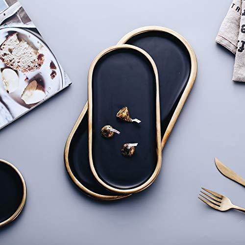 MEICHENG-DZ Erfrischendes Schwarz und Golden Strokes Keramikplatten Geschirr Porzellan Abendessen Dessertteller Steak Dish Schmuck Tabletts Ringe Armbänder Halter einfach (Color : 32cmX15cmX1cm)