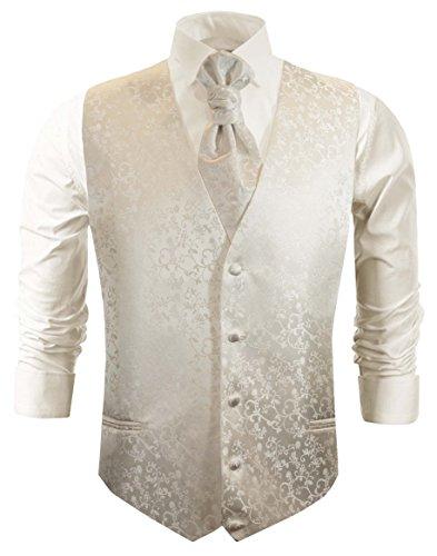 Paul Malone Hochzeitsmode Hochzeitswesten Set 5tlg Ivory floral + Casa Moda Hochzeitshemd Champagner