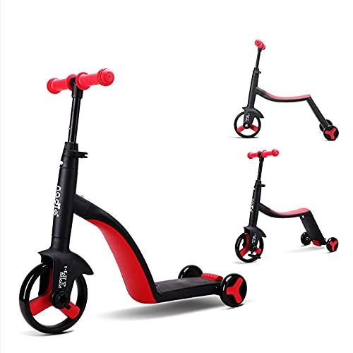 Scooter para niños, triciclo 3 en 1, bicicleta de equilibrio, 3 engranajes de altura ajustable, el mejor regalo para niños pequeños de 1 a 10 años (color rojo)
