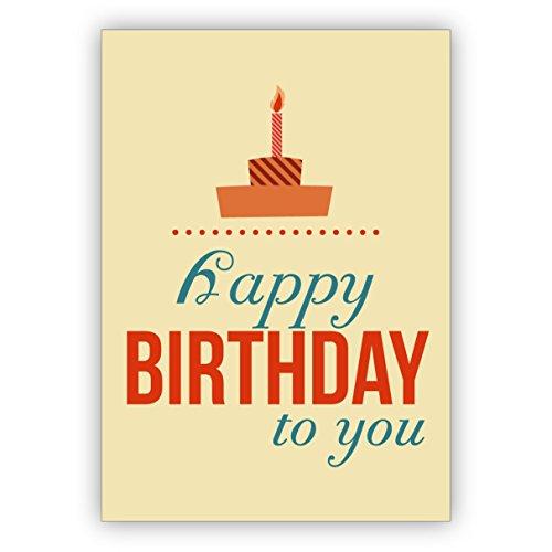 1 typografische retro verjaardagskaart met typo taart: Happy Birthday to you • nobele felicitatiekaart voor verjaardag met envelop zakelijk & privé