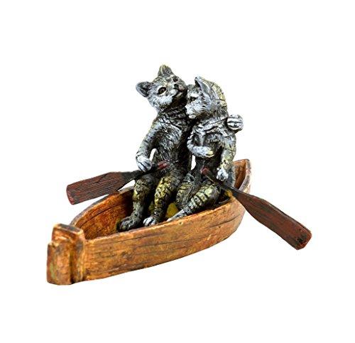 Kunst & Ambiente - Wiener Bronzefigur - Katzen Liebespaar bei Bootsfahrt - handbemalte Vienna Bronze - gestempelt - Wiener Bronze Katze - Tierfigur - Miniaturbronze