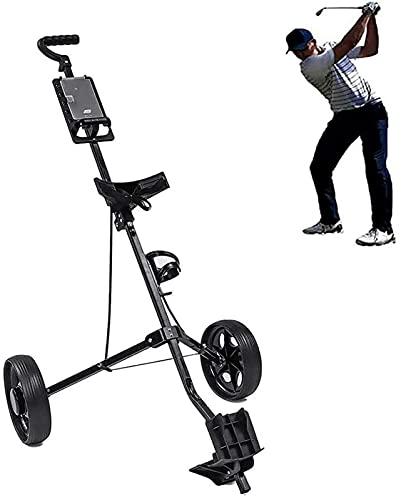 TUHFG Carrito de golf plegable con 2 ruedas con ángulo de mango ajustable, marcador y freno de pie, carrito de golf ligero