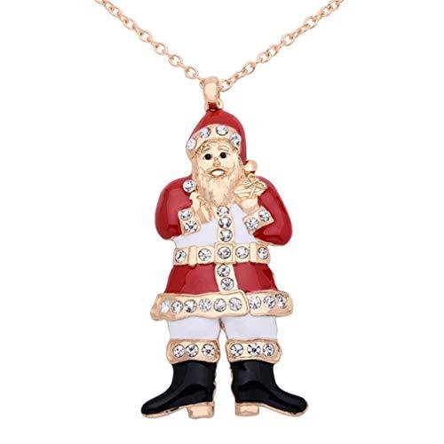 YAZILIND Traje de Navidad joyería Santa Claus Colgante Collar Xmas Fiesta Regalo Mejores Amigos Amigos Collares de Amistad(#8)