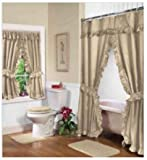 Home Fashions Beige Linen Double Swag Shower and Window Curtain Set with Liner