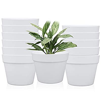 6.3 Inches / 12 pcs Plastic Plant Pots, Gardening Containers, Planters, Perfect for Indoor and Outdoor Decoration/Garden/Kitchen/Flower/Succulents (White)