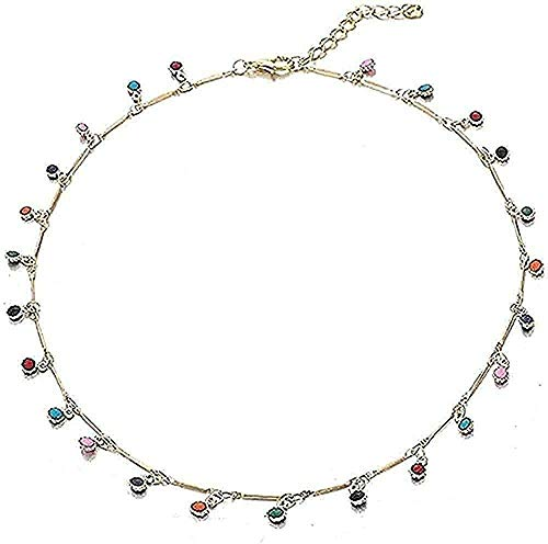Yiffshunl Necklaces Women Necklace Men Necklace Sweater Choker Clavicle Chain Single Layer Color Crystal Bead Pendant Clavicle Chain Necklace Women Boho Necklace Jewelry On Neck Gift Girls Boys