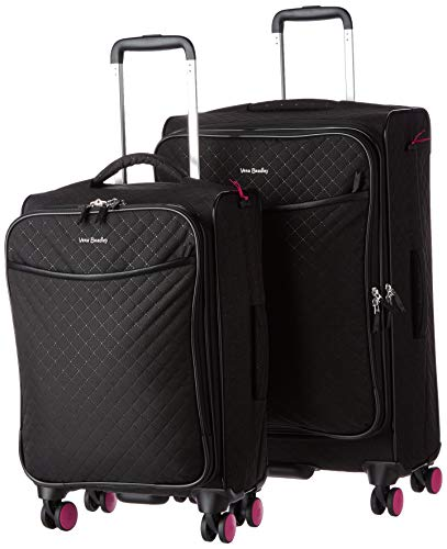 Vera Bradley Women's Softside Rolling Suitcase Luggage, Classic Black, 22' Carry On & 27' Check in