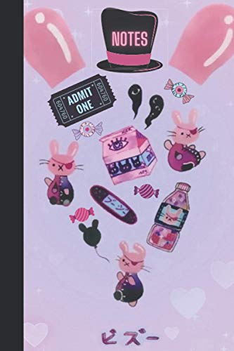 Notes: TRENDING - Bullet /Dot Grid Journal - Japanese, Kawaii, Pastel Goth Aesthetic, Creepy-Cute Circus, Pink, 'Bizu Bunny' - 6x9 (15.24 x 22.86) - 120 pages